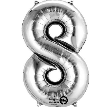 Number 8 Silver Mini Air-Fill Foil Balloon